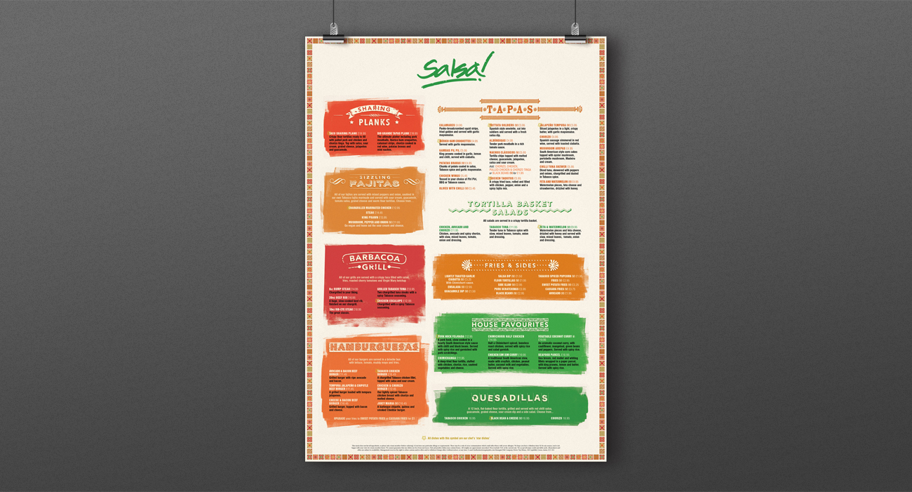 Salsa food menu listing poster
