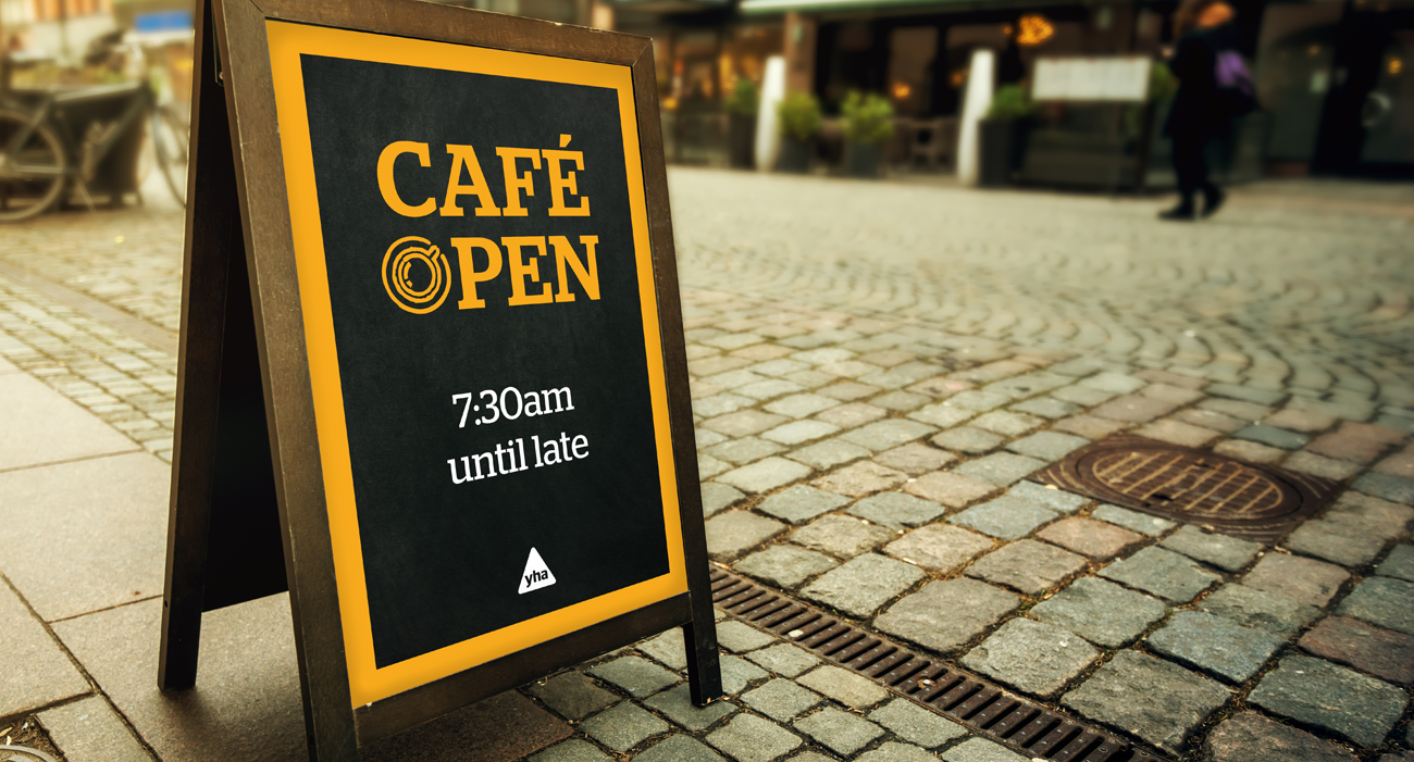YHA Cafe Open Blackboard